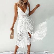 Load image into Gallery viewer, Sling Lace Stitching Cutout   Dress