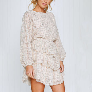 Fashion Print Long Sleeve Mini   Dress