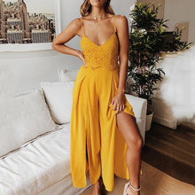 Load image into Gallery viewer, Strap V-Neck Solid Color Sexy   Jumpsuit