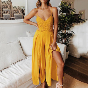 Strap V-Neck Solid Color Sexy   Jumpsuit