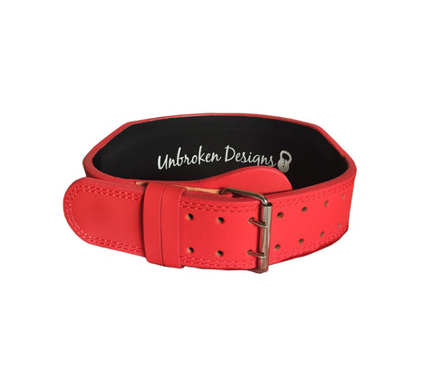 "Matte Red 4"" Leather Lifting Belt"