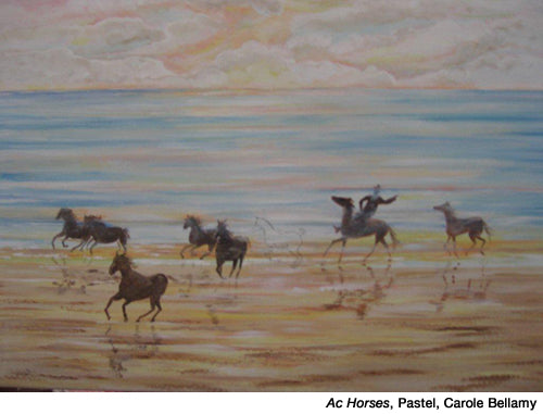 Ac-Horses-beach, acrylic by Carole Bellamy inspired by Dale Laitinen