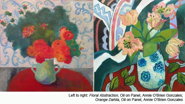 Acrylic Mixed Media Florals by painter Annie O'Brien Gonzalez