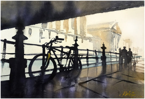 Bike - Bridge - Berlin   13x18 inches Sketch  2015 by Thomas Wells Schaller