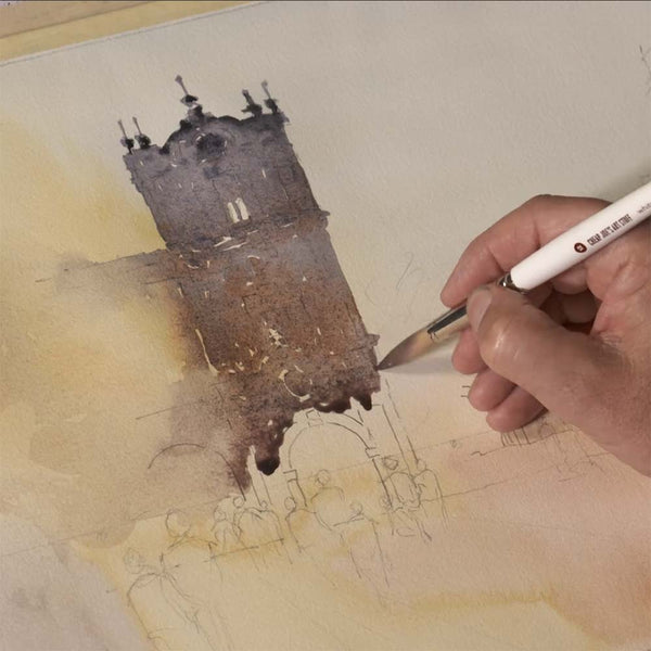 Learn how tipping your board will help you work longer in your watercolor washes