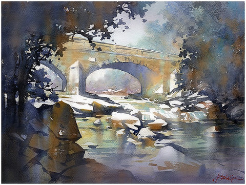Chesneys Bridge - Northern Ireland  15x22 inches 2014 by Thomas Wells Schaller