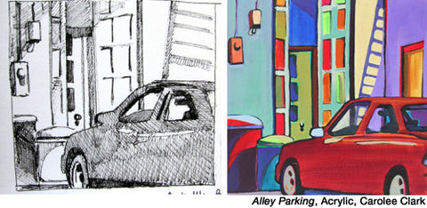 Alley Parking by Carolee Clark