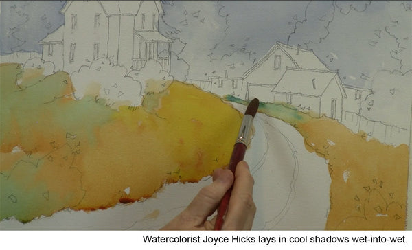 Learn to how to add shadows in watercolor landscape with Joyce Hicks' video workshop Hilltop Homestead: Transforming the Landscape in Watercolor