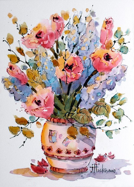 Learn to paint watercolor bouquets with Joyce Hicks video workshop