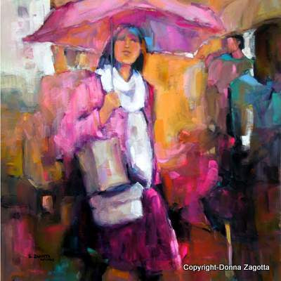 Girl With the Pink Umbrella 19x19 - by Donna Zagotta