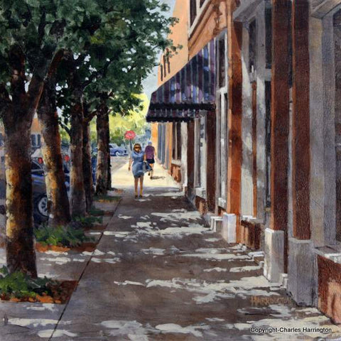 Brady & Main_12x12 acrylic_plein air by Charles Harrington