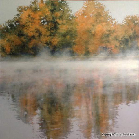 Morning at Bella Vista Lake_36x36 acrylic on canvas by Charles Harrington