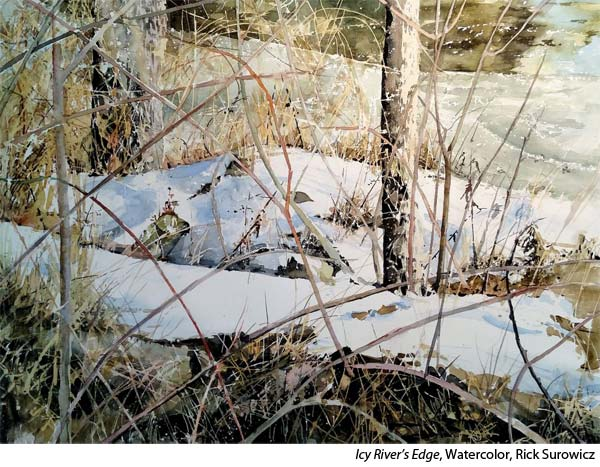 Interview with watercolorist Rick Surowicz, landscape painting of a stream