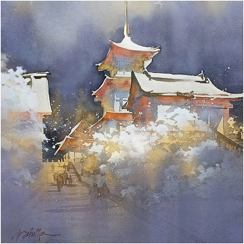 Kiyomizu-dera in Snow -   Kyoto 20x17inches  2014 by Thomas Wells Schaller