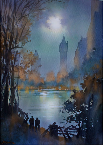 Manhattan Nocturne  24x18 inches  2015 by Thomas Wells Schaller