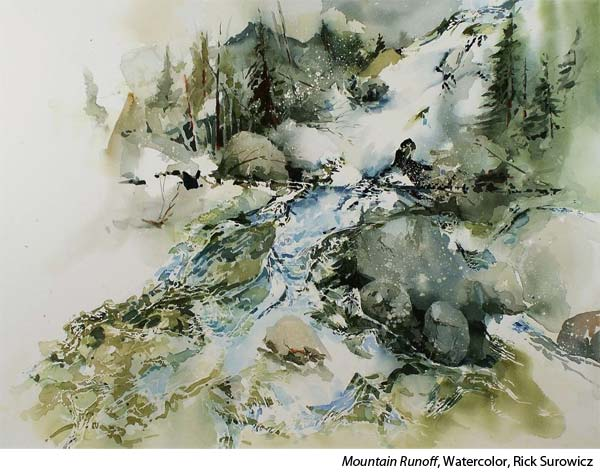 Interview with watercolorist Rick Surowicz, river in watercolor
