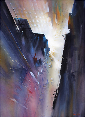 Night in the City  30x22 inches  2014 by Thomas Wells Schaller
