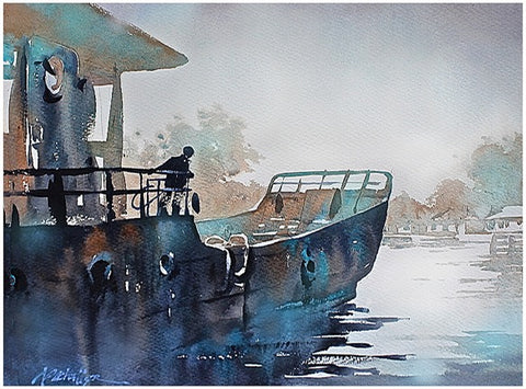 Old Boat - Lake Superior  15x22 inches  2014 by Thomas Wells Schaller