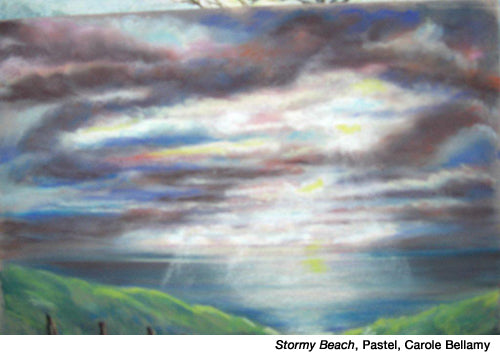 Stormy-beach, pastel by Carole Bellamy inspired by Dale Laitinen