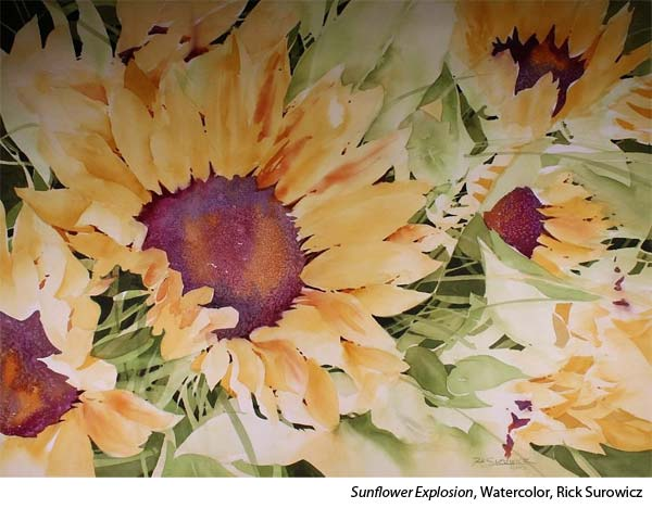 Interview with watercolorist Rick Surowicz, sunflowers in watercolor