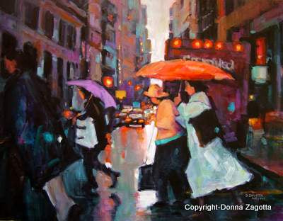 The Orange Umbrella 22x30 - by Donna Zagotta