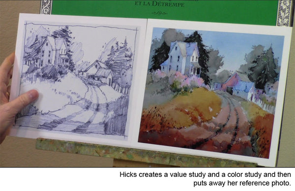 Learn to see create value and color studies in watercolor landscape with Joyce Hicks' video workshop Hilltop Homestead: Transforming the Landscape in Watercolor