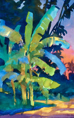 Watercolor, Banana Trees South Florida by Carl Dalio