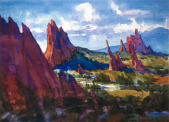 Watercolor, In the garden of the gods by Carl Dalio