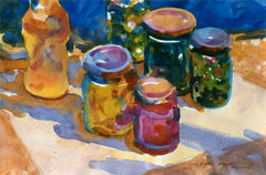 Watercolor Olives & Jars by Carl Dalio