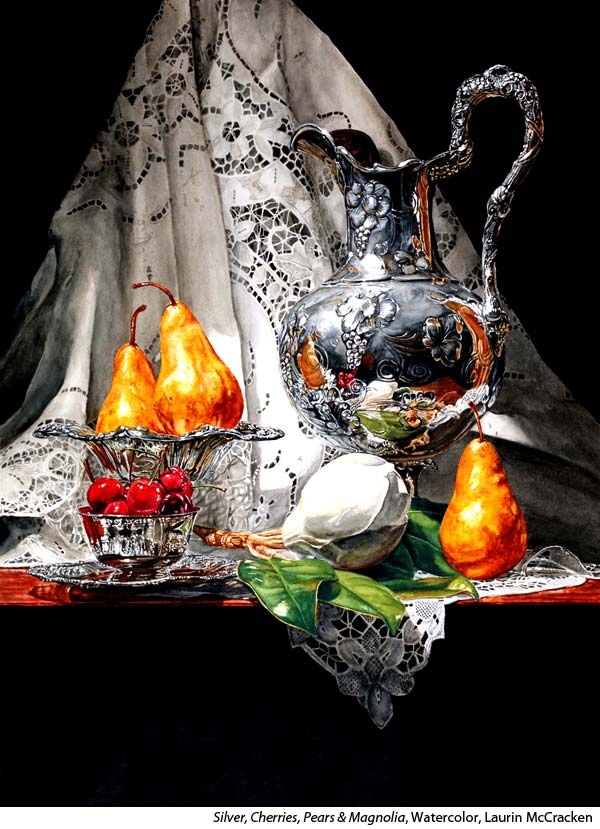 Photo Realistic Silver in Stillife in Watercolor with Laurin McCracken