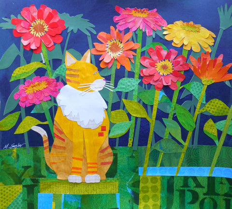 """Cat in Zinnia"" by Melissa Babcock Saylor"