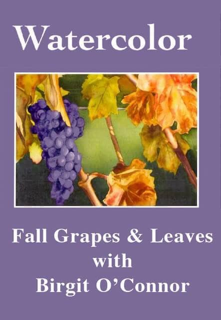 Watercolor Fall Grapes & Leaves with Birgit O'Connor