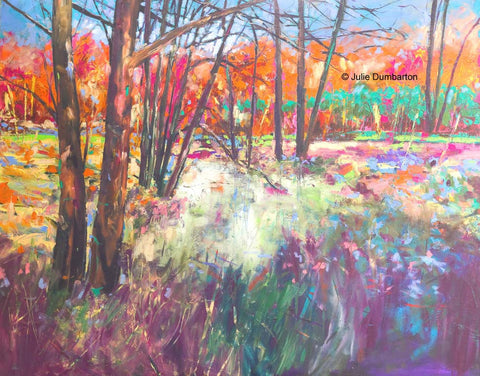 'Red Trees' Print Hand Signed By Julie