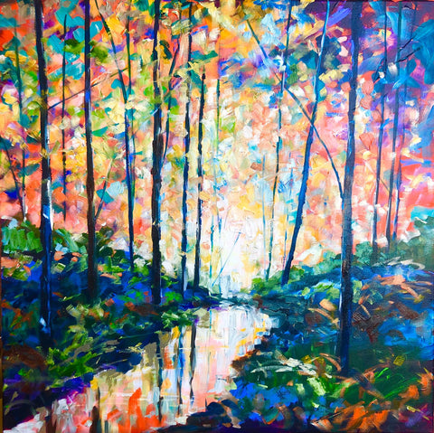 Julie's six part online acrylic course - Painting a wooded river bank