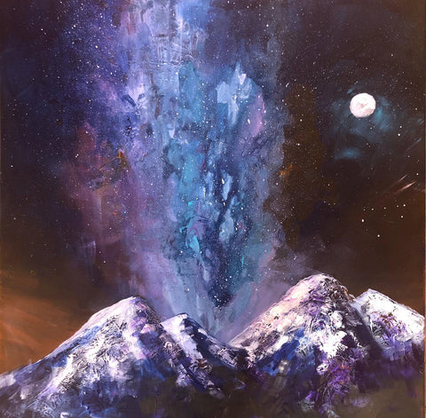 Julie's six part online acrylic course - Painting the Milky Way and Snowy Mountains