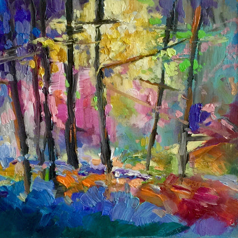 Midi original oil painting 'Rainbow Forest'