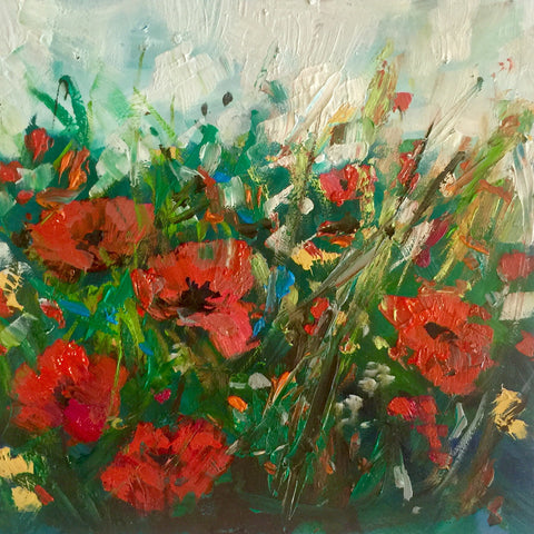 Midi original oil painting 'Poppy Bundle'