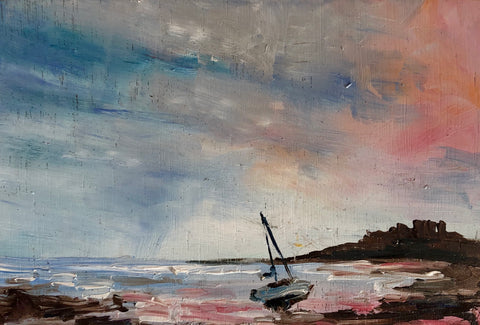 'Bamburgh Castle with Boat'