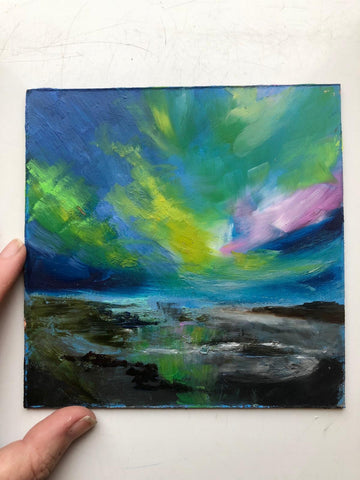 Midi original oil painting 'Coastal Aurora'