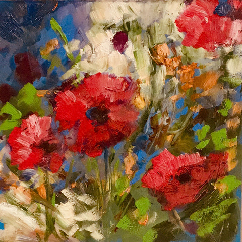 Midi original oil painting 'Poppy Heaven'