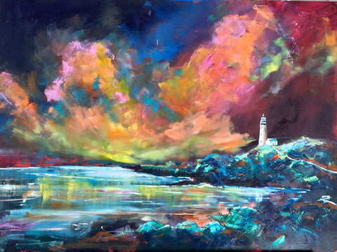 Julie's 'Six weeks of colour' course - Lighthouse on a Rocky Shore