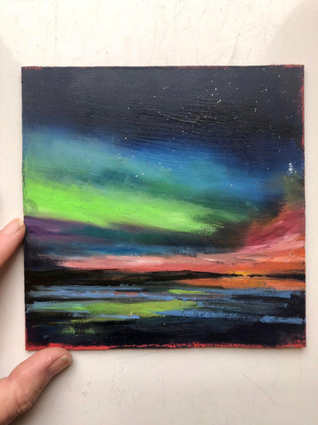 Midi original oil painting 'Aurora Glow'