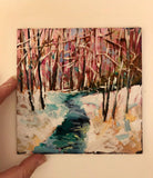 Midi original oil painting 'Winter Stream'