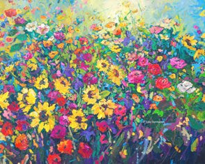 'Sunflowers & Iris's' Print Hand Signed By Julie