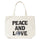 Peace And Love Canvas Tote Bag - Natural