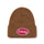 Oval Patch Cuff Beanie - Brown