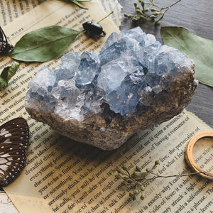 Celestine Crystal Cluster large (Peace + Calming)