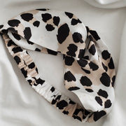 Leopard Print Silk Cross Stretch Headband