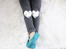 Load image into Gallery viewer, White & Black Heart Knees Gray Pants Leggings