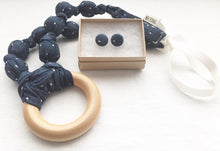 Load image into Gallery viewer, Blue Polka Dot Chambray Fabric Teething Ring Statement Necklace by Wee Kings